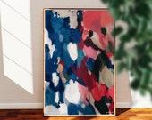 Saveon - Blue pink wall art - large vertical art - art print - blue red - colorful wall art - contemporary art