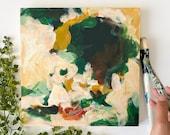 Olivia 12x12 original abstract acrylic painting, neutral painting, green abstract, contemporary, minimal wall art