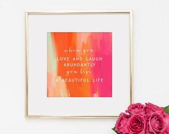 A Beautiful Life 8x8 Quote Inspirational Art Print