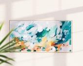 Cyan, Abstract art print, bedroom wall art, living wall art, blue abstract, art print, bright blue abstract, panoramic, extra long art,