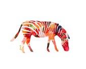 Zebra Animal Art Print, Number Two, animal illustration, zebra illustration