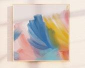 Upward, pastel blue, pastel pink, yellow, abstract art, art prints, prints wall art, large wall art, wall art prints, extra large wall art