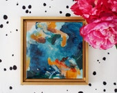 Eden, abstract painting, small original art, blue abstract, square art