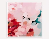 Tulip - Teal and pink- Turquoise - bright mulitcolor art - extra large - vibrant art - abstract wall art - colorful print- Square