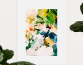 Birds of Paradise, 10x15 blue and green abstract art print, canvas limited edition, 1 of 3