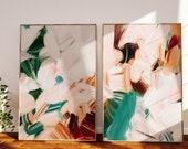 Set of 2 Large abstract wall art prints - neutral art - earthy tones - boho wall art - art print pairs - Solitude No.1 and 3