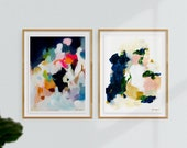 Set of 2 Large Giclee Abstract Print, 9x12 -30-40in, art pairs, wall art, pink abstract, blue abstract, Eliza and Color Series No2