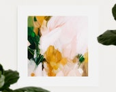Camilla, 12x12 pink and green wall art, contemporary art, abstract print canvas limited edition, 2 of 10