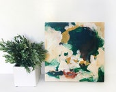 SALE-Olivia 12x12 original abstract acrylic painting on wood  neutral small painting, green abstract