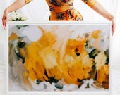 New Beginnings - large yellow wall art, art print, calm abstract, serene wall art, yellow and grey art print, 15x10-60x40