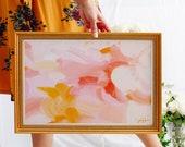 Pink abstract art, pink wall art, pink and yellow large art, art print, 15x10-60x40, calm abstract, serene wall art - Blush