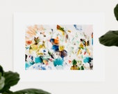 Primavera, 15x10 blue and green abstract art print, canvas limited edition, 1 of 3