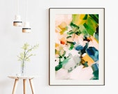 Birds of Paradise, 40x60 blue and green abstract art print, large art print, fine art paper limited edition, 1 of 3