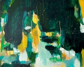 Nightshade - Green abstract acrylic painting. Large painting. Painting on canvas - 36x36in