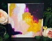 Purple Gold Abstract - small painting - purple artwork - gold artwork - modern wall decor - original painting