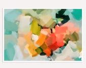 Summer of Peonies- bright mulitcolor art - extra large wall art - vibrant wall art - contemporary art - abstract wall art - colorful print
