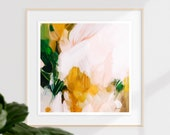 Camellia, 12x12-40x40in, large giclee, print, Abstract Fine Art Print, abstract print, green abstract, pink abstract