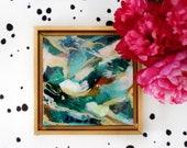 Jade, abstract painting, small original art, green abstract art