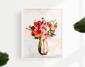 Blossom, floral bouquet, Peonies, printable art, floral artwork, printable wall art floral