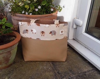 Large tote, shopping bag, sheep design, vegan, faux leather, Perfect present, Gift for her.