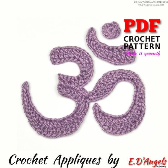 Om Crochet Pattern Om Symbol Applique Pattern Crochet Yoga Etsy