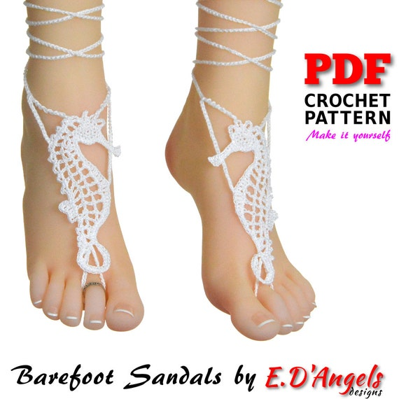 Barefoot sandals crochet pattern barefoot sandals wedding etsy image 0 malvernweather Image collections
