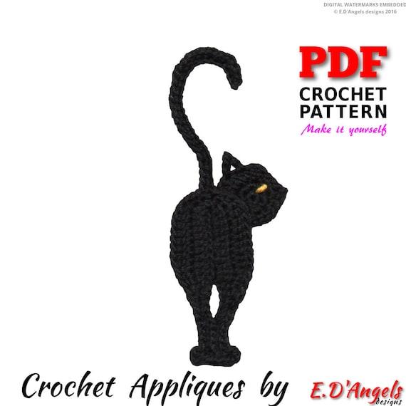 Crochet Pattern Crochet Black Cat Applique Applique Pattern Etsy