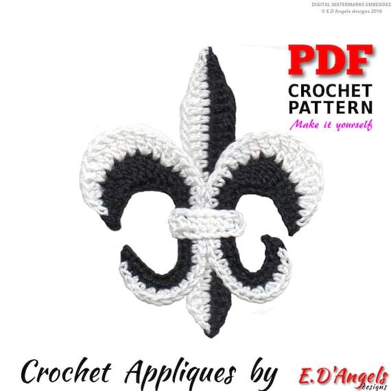 Crochet Pattern Crochet Fleur De Lis Applique Applique Etsy