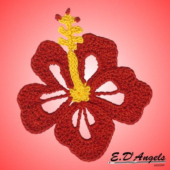 Crochet, Crochet pattern, Crochet Hibiscus flower, Crochet applique ...