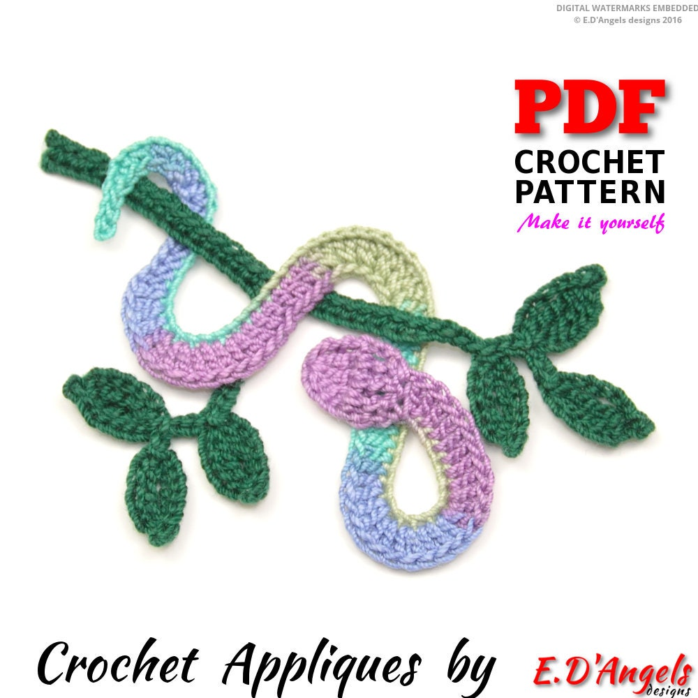Crochet Pattern Crochet Snake On The Branch Applique Etsy