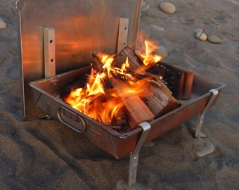 Large Wilderness FIRE PAN - A Complete Light Weight Fire Pit and grill for Rafting and and Camping.