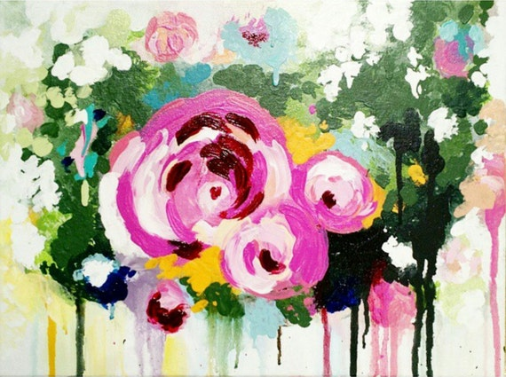 Abstract Floral Acrylic Painting Roses Pink Flowers Expressionism Modern Art Home Decor