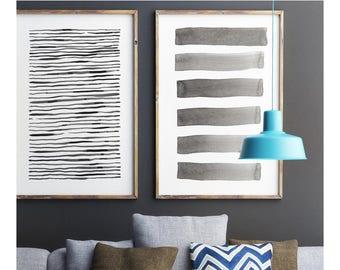 Large Modern Wall Art, Abstract Wall Art, Print Set, Abstract Watercolor, Abstract Art Print, Painting Stripes, Gray Art,Large Abstract Art