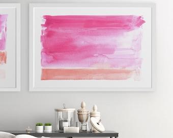 Pink Wall Art, Pink Artwork, Abstract Landscape, Abstract Wall Art, Painting, Abstract Watercolor Art, Abstract Print, Large Wall Art