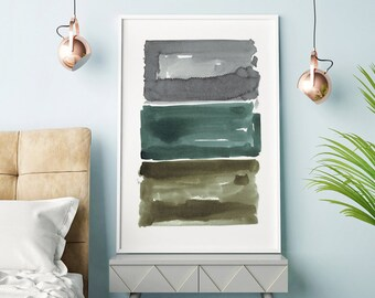 Large Abstract Print, Gray Wall Art, Abstract Watercolor, Abstract Art, Watercolor Painting, Oversized Art, Minimalist Art, Modern Wall Art