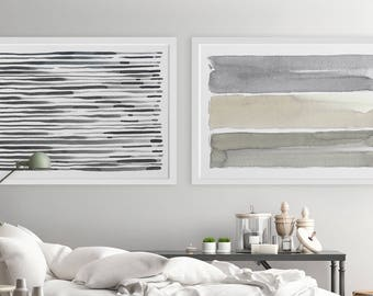 Large Wall Art, Contemporary Wall Art, Horizontal Wall Art, Abstract Art, Set of 2, Oversized Painting, Fine Art, Gray Abstract Painting