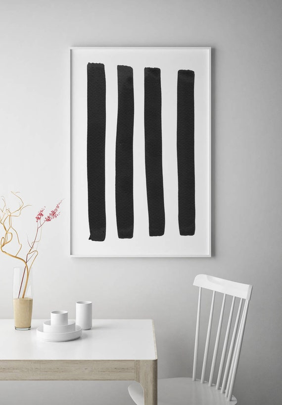 Minimalist Art Large Abstract Art Black White Wall Art Etsy