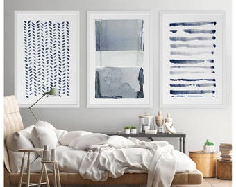 Large Wall Art, Navy Blue Gray Abstract Art, Set of 3 Paintings, Large Abstract Painting, Minimalist Print, Navy Blue Art Print, Indigo Art