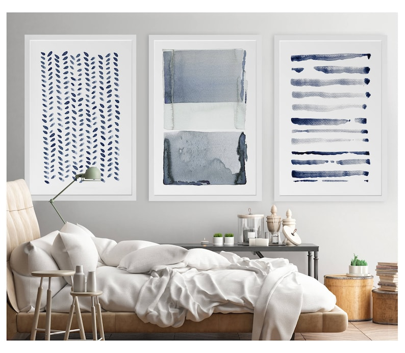 Large Wall Art Navy Blue Gray Abstract Art Set Of 3 Paintings Large Abstract Painting Minimalist Print Navy Blue Art Print Indigo Art