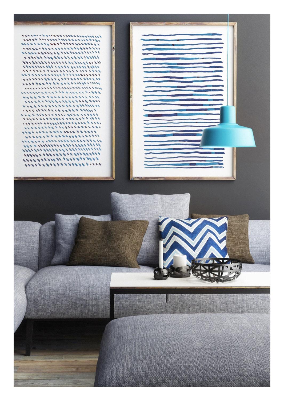 Abstrakte Kunst abstrakte Kunst-Set Marine blaue abstrakte