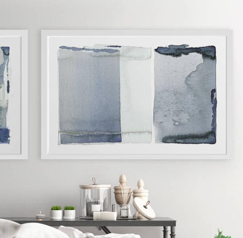 Large Abstract Wall Art Gray Navy Blue Painting 24x36 Abstract Art Giclee Print Abstract Gray Wall Art Abstract Painting Large Prints