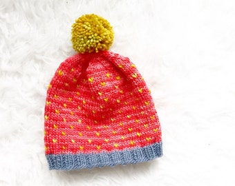 Red Knit Baby Pom Pom Hat, Handknit Merino Wool Baby Hat, Baby Toque, Knitted Red and Yellow Beanie With PomPom, Kid Hat, 12 months Baby Hat