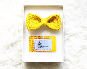 Yellow Knitted Bowtie, Hair Bow, Handknit Bow, Merino Wool Bowtie, Men's Knitted Bow tie, Wedding Bow ties Bowtie, Groom Bowtie