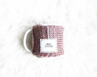Personalized Mug, Coffee Mug Cozy, Pink Knit Coffee Mug Cozy, Tea Cozy, Mug Warmer, Knitted Personalized Cup Cozy, Java Jitters