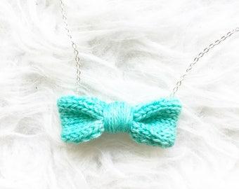 Handmade Womens Gift, Women's Mint Necklace, Knit Mint Bow Tie for Women, Knit Necklace, Green Knitted Bow Tie Necklace, Bow Tie Accessory
