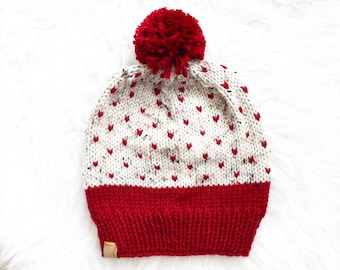 Pom Pom Beanie, Knitted Hat, Hearts Pattern Knitted Pom Pom Hat,  Knit Pom Pom Hat, Knit Toque, Slouchy Hat, Womens Gift , Womens Hat