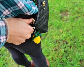 Onana Pineapple Keychain, Pineapple Gift, Fruit Keychain, Womens Gift, Pineapple Wallet Keychain, Knit Yellow Pineapple Keychain, Keychain