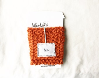 Orange Travel Mug Cozy, Personalized Gifts for Her, Knitted Coffee Cozy, Knitted Cup Cozy, Travel Mug Cozy, Knit Mug Warmer, Tea Cozy
