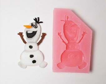 Large Cartoon Snowman inspired silicone mold Kids-Boys-Girls-Fondant-Resin-Gumpaste-Clay-Candy-Jewelry-Crafts