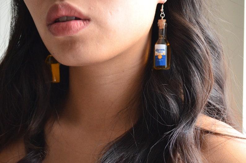 Beer Lover Gift Party Earrings Patio Earrings Corona Bottle Earrings Mini Bottle Beer Mini Bottle Earrings Beer BFF Party Gift